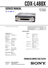 Руководство по техническому обслуживанию Sony CDX-L480X
