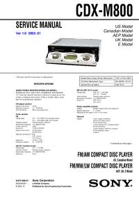 Manuale di servizio Sony CDX-M800