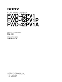 Руководство по техническому обслуживанию Sony FWD-42PV1