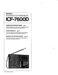 User Manual Sony ICF-7600D