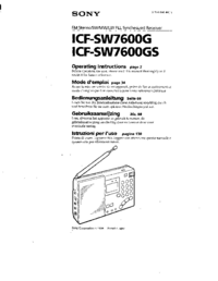 User Manual Sony ICF-SW7600GS