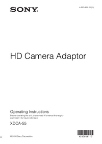 User Manual Sony XDCA-55