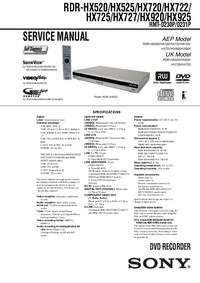 Manual de servicio Sony RDR-HX920