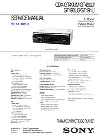 Manual de serviço Sony CDX-GT49UM