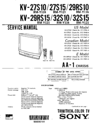 Manual de servicio Sony KV-29RS10