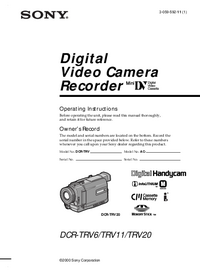 User Manual Sony DCR-TRV6