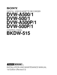 Service and User Manual Sony DVW-A500/1