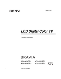 User Manual Sony KDL-40XBR3