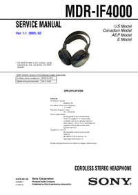Service Manual Sony MDR-IF4000