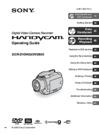 User Manual Sony DCR-DVD805