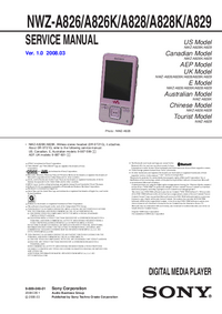 Manual de serviço Sony NWZ-A826