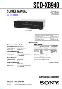 Руководство по техническому обслуживанию Sony SCD-XB940