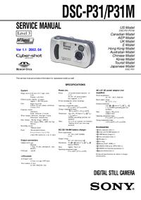 Руководство по техническому обслуживанию Sony DSC-P31M