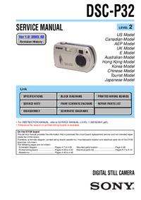 Руководство по техническому обслуживанию Sony DSC-P32
