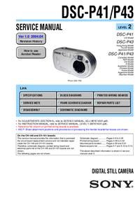 Руководство по техническому обслуживанию Sony DSC-P41