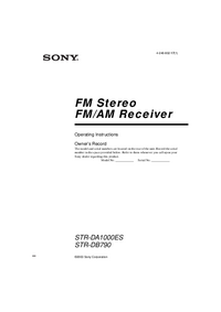 User Manual Sony STR-DA1000ES
