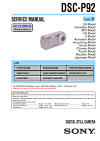 Manual de servicio Sony DSC-P92