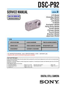 Servicehandboek Sony DSC-P92
