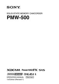 User Manual Sony PMW-500