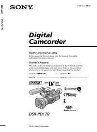 User Manual Sony DSR-PD170