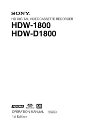 User Manual Sony HDW-D1800