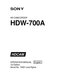User Manual Sony HDW-700A
