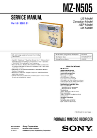 Service Manual Sony MZ-N505