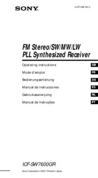 Manuel de l'utilisateur Sony ICF-SW7600GR