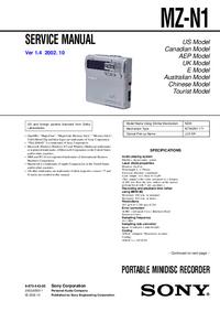 manuel de réparation Sony MZ-N1