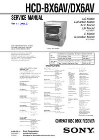 Manual de servicio Sony HCD-DX6AV