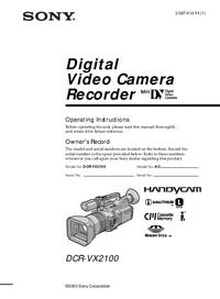 Bedienungsanleitung Sony DCR-VX2100