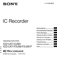 User Manual Sony ICD-UX71F