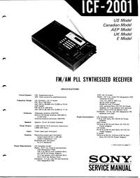 Manuel de l'utilisateur Sony ICF-2001