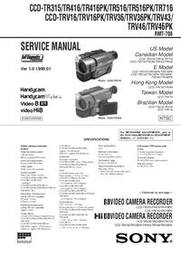 Руководство по техническому обслуживанию Sony CCD-TR716