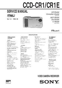 Руководство по техническому обслуживанию Sony CCD-CR1
