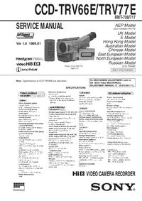 Руководство по техническому обслуживанию Sony CCD-TRV66E
