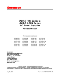 User Manual Sorensen DCS100-10E