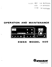 Service and User Manual Swan 400