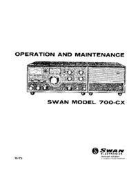 Servicio y Manual del usuario Swan 700-CX