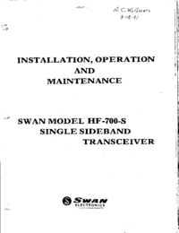 Service and User Manual Swan HF-700-S