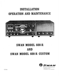 Service and User Manual Swan 600-r Custom