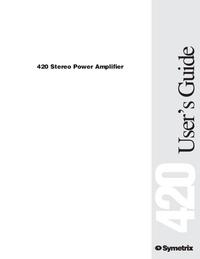 Instrukcja obsługi Symetrix 420