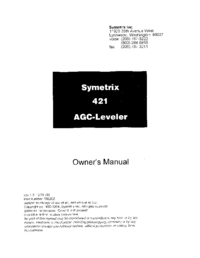 Serwis i User Manual Symetrix 421