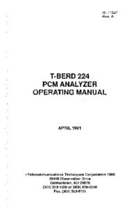 Manuel de l'utilisateur TTC T-BERD 224