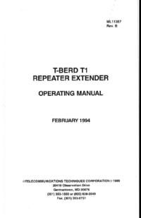 User Manual TTC T-BERD T1
