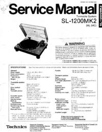 Servicehandboek Technics SL1200-MK2
