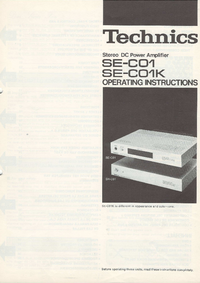 User Manual Technics SE-C01K