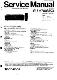 Service Manual Technics SU-A700MK3