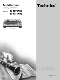 User Manual Technics SL-1200MK5