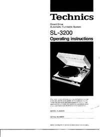 User Manual Technics SL-3200